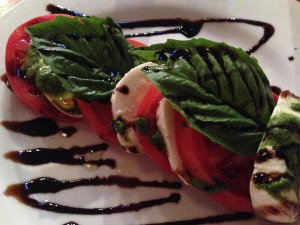 "Duane said, ""Is that chocolate?"" when he saw the thick balsamic drizzle on my Caprese Salad.  I was too busy eating to answer."
